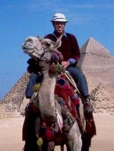 EGYPT PYRAMIDS Thomas Martin Smith on a camel at the Pyramids - photo by Farage