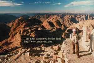 EGYPT - Sinai - dd - Tom backpack atop Mount Sinai