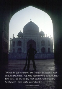 Rock and hard place - 1 - MH - Tom as Indy - at the Taj Mahal - Copy